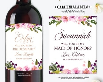 Will you be my Bridesmaid Wine labels, Bridesmaid Proposal Gift, Ask Maid of Honor Gift, Be my Maid of Honor Champagne Label, Wedding Wine