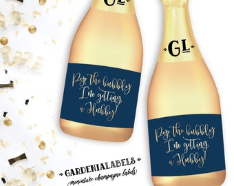 Pop the bubbly I'm getting a hubby bridesmaid proposal, Be My Bridesmaid miniature champagne label, Maid of Honor Ask, Bridesmaid Proposal