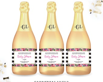 Baby Shower Mini Champagne Labels, About to Pop Shower Decorations, Baby Shower Favor, Baby Sprinkle Favor Decoration, Baby Shower Champagne