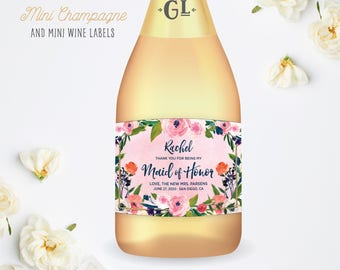 Thank You For Being My Bridesmaid Mini Wine Labels, Wedding Mini Champagne Labels, Be My Bridesmaid Ask, Maid of Honor Thank You Gift Idea
