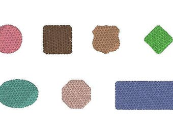 Machine Embroidery Pattern - Knockdown Stitches - 7 Shapes