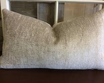 Gray, Silver, Soft Chenille Pillow Cover w/ zipper, 10x20