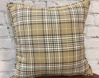 Beige Tan Brown Plaid Pillow, 18x18, Rustic Farmhouse Pillow