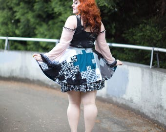 Patchwork Puzzle Skirt Jigsaw Pieces Circle Skirt Pin-Up Women's Sz. XL Rockabilly Hippie Houndstooth Upcycle Eco Friendly Ready to Ship