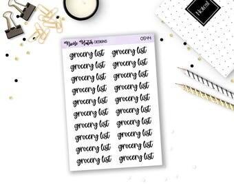 0544 // Grocery List Script/Cursive/Typography Stickers - Quarter Sheet // Planner Stickers