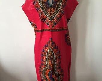 Long ethnic dashiki dress one size fits