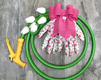 Green Garden Hose Wreath With Tulips