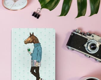 Notebook   Pocket Notebook   Gift   Notepad   Sketch   Drawing   Journal   Planner   Hipster   Horse   Coffee