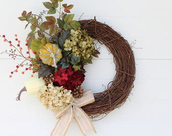 Fall Wreath, Fall Hydrangea Wreath, Pumpkin Wreath, Thanksgiving Wreath, Autumn Wreath, Fall Decor, Door Wreath, Home Decor,