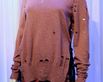 MARGIELA Blank Tag Hole Ragged Tattered Mauve Ribbon Tie Sweater