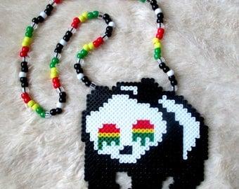 Trippy Rasta Raver Panda Dripping Eyes Kandi Perler Bead Art Rave Necklace EDM