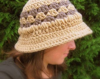 Wool hand crocheted retro style cloche Hat