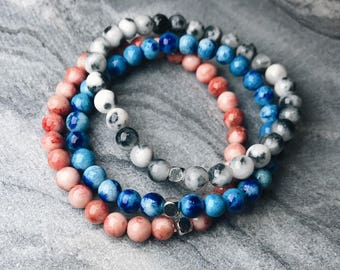 Black and White stone Bracelet. Jade Beaded Bracelet. Stone Bracelets.