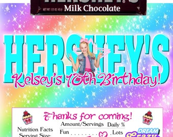 Printable JoJo Siwa Candy Bar Wrappers Birthday 1.55 oz. Hershey's Chocolate Nestle Crunch Party Favor