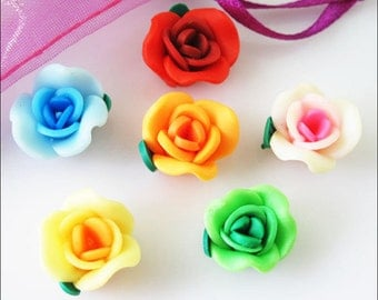 Polymer Clay Flower Beads, Clay Flower Charms, Polymer Clay Flowers, Flower Spacer Beads, Clay Roses, Clay Rose Beads, Clay Rose Charms