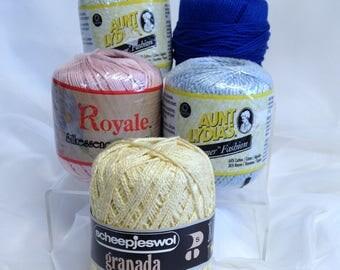 Crochet Yarn Bundle Variety of Aunt Lydias Shimmer Fashion Royale Silkessence Microfiber Scheepjeswol Granada Lily Kountry Kabled Kotton