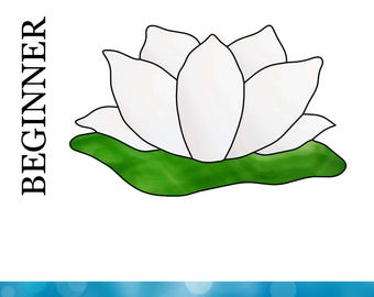 Stained Glass Pattern - Lotus Flower - Lotus Suncatcher - Easy Stained Glass Pattern - Flower Pattern - Easy Suncatcher - Beginner Pattern