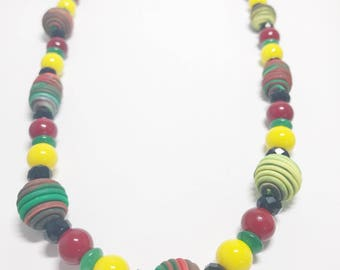 Handmade Beaded Necklace - Handmade Beads - Yellow Green Red Black - Gift - Birthday - Anniversary - Polymer Clay - Unique