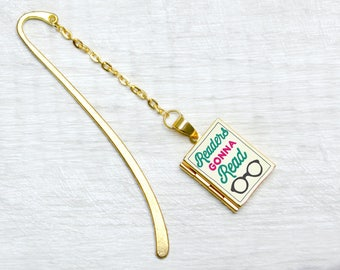 Readers Gonna Read Metal Bookmark Book Charm Reading Accessories Book Lover Literary Gifts with Personalised Library Card The Locket Library