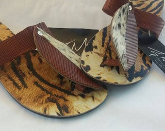 Hand crafted Zulu shield sandals in leather and cow-hide