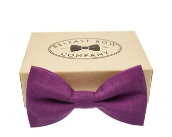 Irish Linen Bow Tie in Purple - Adult & Junior sizes available