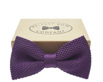 Handmade Knitted Bow Tie in Purple