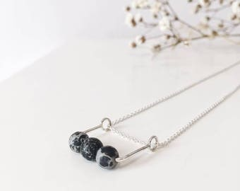 minimalist necklace, silver necklace, beads necklace, minimalist necklace, silver necklace, howlite, marble, silver necklace, gemstone beads