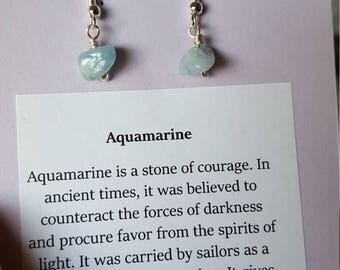 Aquamarine Chip Healing Earrings