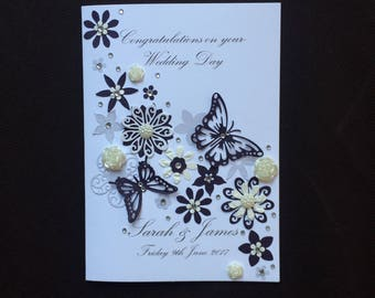Handmade Personalised Wedding Card Engagement Birthday Very Detailed Design 3D Flowers Husband Wife Friend Grandparents