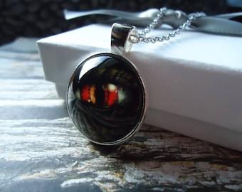 Dragons Eye - Silver Glass Necklace or Key-chain - Dragon, Zombie Eye, Skyrim, Game of Thrones, Godzilla Eye, Reptile Eye