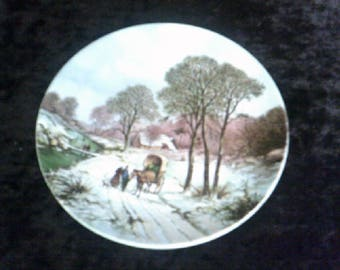 Poole Pottery Plate Landscape in Winter after painting by B C Koekoek 1803 to 1862