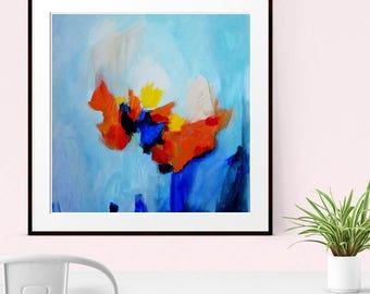 Abstract  Print , Modern Art, Abstract Expressionism, Abstract Giclee Print , Blue, Orange, yellow, large Wall Art, Home Decor