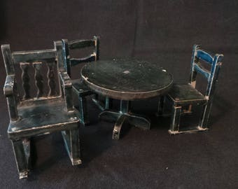 Vintage Dollhouse Miniature Shabby Chic Forest Green Table And Three Chairs Set