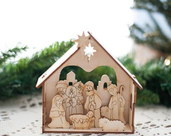 Diy nativity set etsy diy nativity kit small christmas nativity set for kids by urban forest woodworking solutioingenieria Choice Image