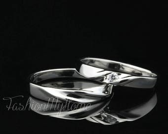 couple ring setinitial ringfree engravingsterling silver ringinterweave ring - Wedding Rings Sets For His And Her