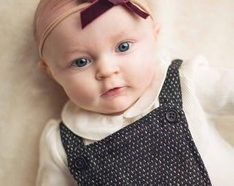 BORDEAUX VINTAGE VELVET Skinny Hand-tied Bow (Headband or Clip)- velvet bow headband; velvet bow; newborn headband; baby headband; bow