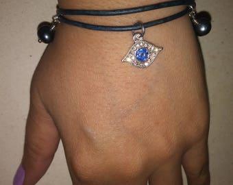 Blue Rhinestone Evil Eye Charm Bracelet Free Shipping