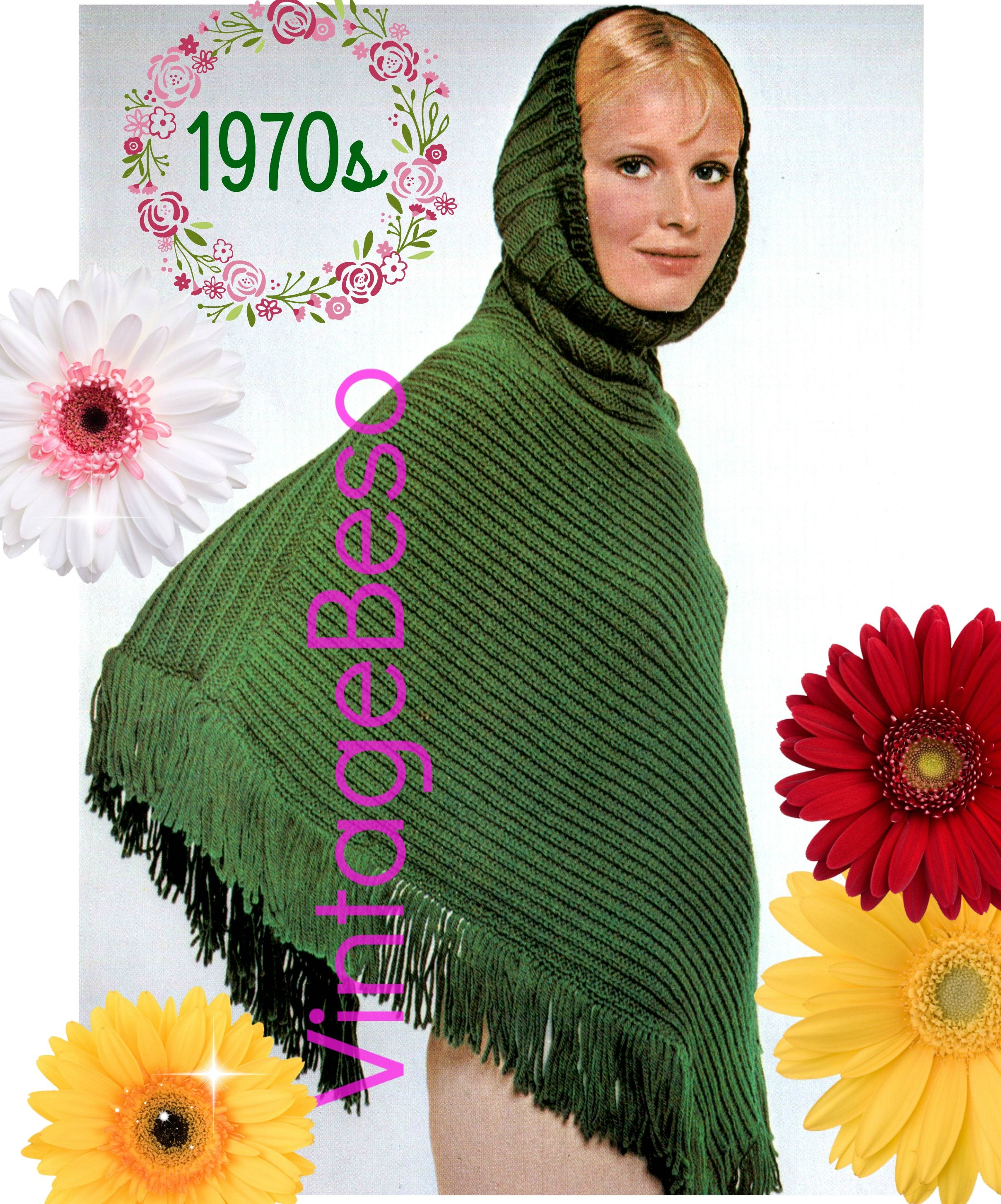 Hooded poncho knitting pattern 1970s knitting pattern pdf hooded poncho knitting pattern 1970s knitting pattern pdf pattern fringed poncho digital pattern mod modern retro vintage bankloansurffo Image collections