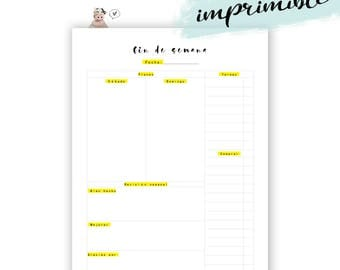 Imprimible plan fin de semana. Inserto agenda planes para imprimir.