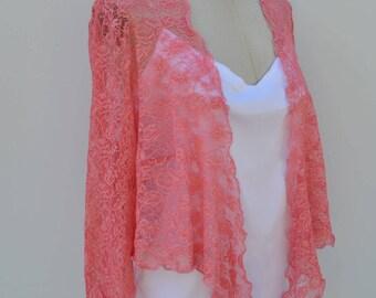 Bolero cover-up wedding pink wedding lace, lace coral wedding, bride, Bridal lace, lace coral wedding ceremony