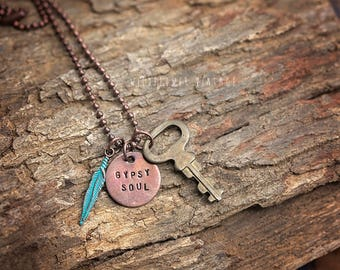 Gypsy Soul Charm Necklace | Boho Copper Jewelry Key Feather Hand-Stamped Gift