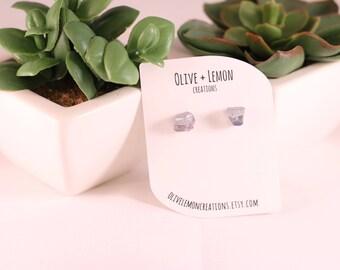 Tanzanite Earrings - Gemstone Earrings - Silver Blue Earrings - Stud Earrings - Raw Gemstone Earrings - Imperfect - Sterling Silver