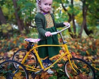 Toddler girl sweater, baby girl sweater, girls cardigan, cardigan baby, green cardigan, braided knit sweater, hand knitted cardigan