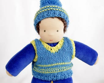 Waldorf inspired baby doll boy blue about 10 inch in an overalls steiner cloth fabric textile handmade doll toy gift