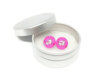 Nail and chip - stainless steel Studs - round glass 10 mm - cat earring - handpainted - hypoallergenic / Cats jewelry