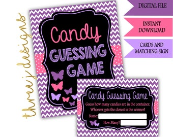 Butterfly Baby Shower Candy Guessing Game Cards and Sign - INSTANT DOWNLOAD - Purple and Pink - Digital File - J002