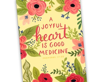 A Joyful Heart is Good Medicine Proverbs 17:22 Greeting Card, JW Greeting Card, Scripture, Encouragement, Friendship, Jehovah's Witnesses