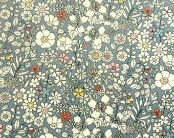 "June's Meadow F Liberty Fabric tana lawn scrap grey yellow pink orange white 10"" x 15"" square (25,4 cm x 38 cm) The Weavers Mill"