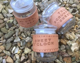 Sweet jars with Handmade Leather slogan sleeves 0.50 litres