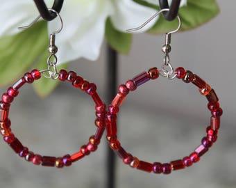 Beaded Large Hoop Earrings, Red Glass Beads, Fashion Earrings